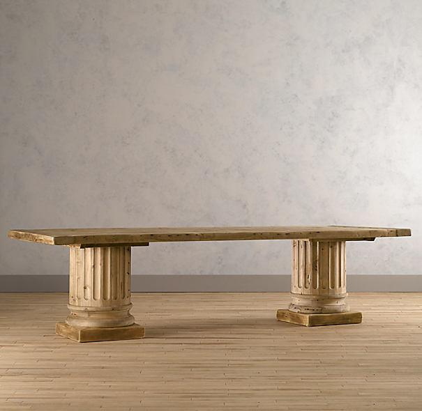 Salvaged Wood Architectural Column Extension Dining Tables