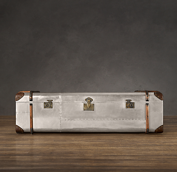 Richards' Polished Aluminum Trunk Coffee Table Large