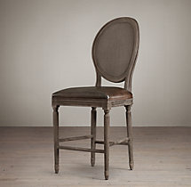 Vintage French Cane Back Round Leather Counter Stool