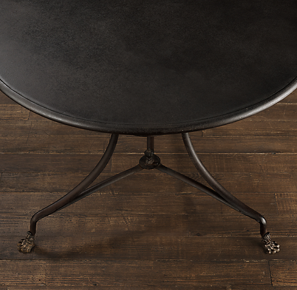 "40"" 19th C. French Lion's Foot Brasserie Table"