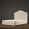 "Belgian Slipcovered Camelback 58"" Headboard With Bed Skirt"