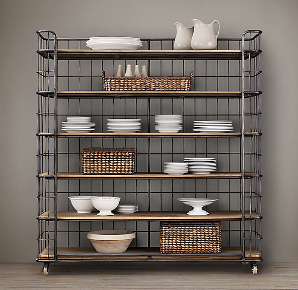 Circa 1900 Caged Baker S Rack Wide Single Shelving