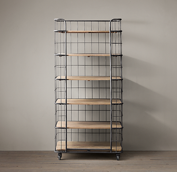 Circa 1900 Caged Baker S Rack Single Shelving