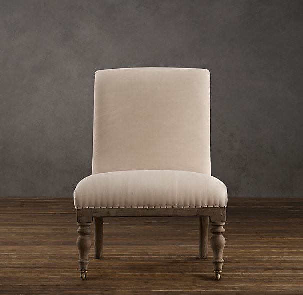 Deconstructed French Slipper Chair Antiqued Cotton