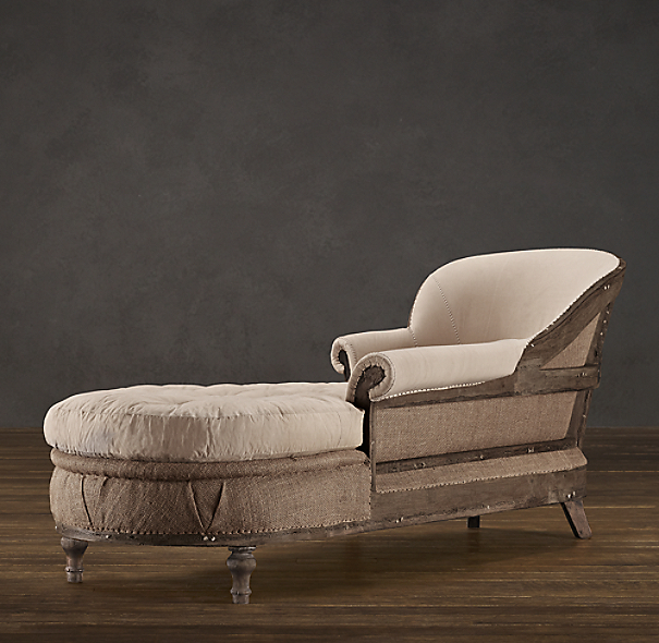 Deconstructed French Victorian Chaise Antiqued Cotton