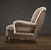 Deconstructed English Roll Arm Chair Antiqued Linen