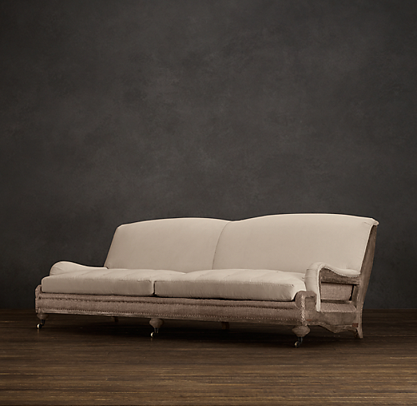 Deconstructed English Roll Arm Sofa Antiqued Cotton