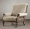 Deconstructed English Club Chair Antiqued Cotton