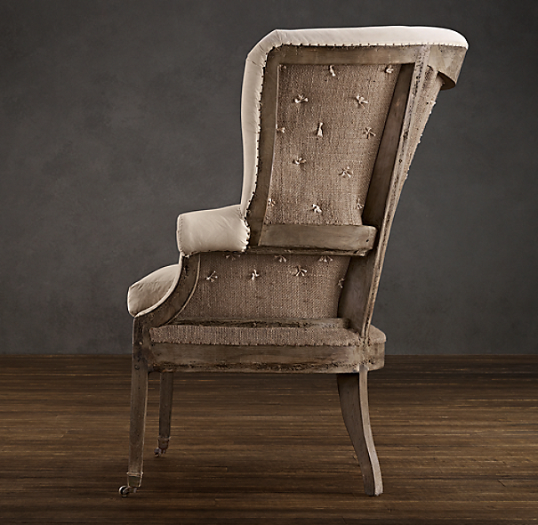 Deconstructed 19th C. English Wing Chair Antique Cotton