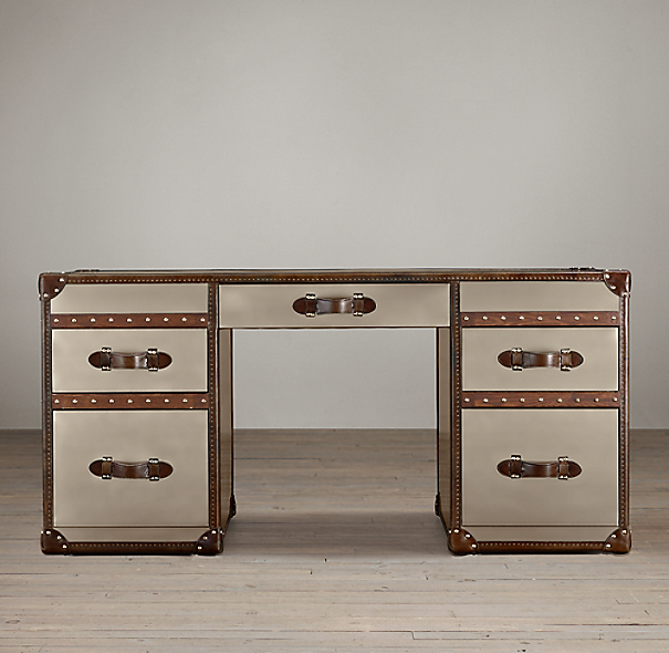 "63"" Mayfair Stainless Steel Trunk Desk"