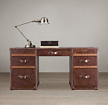 "Mayfair Vintage Cigar 63"" Leather Desk"