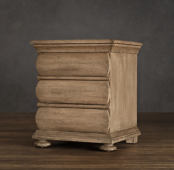 "30"" 19th C. Swedish Rounded Oak Nightstand (Set of 2)"