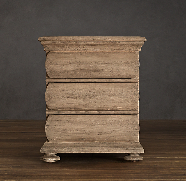 "24"" 19th C. Swedish Rounded Oak Nightstand"