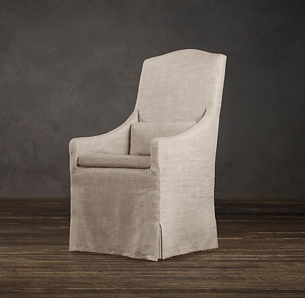 Slipcovered Camelback Dining Armchair