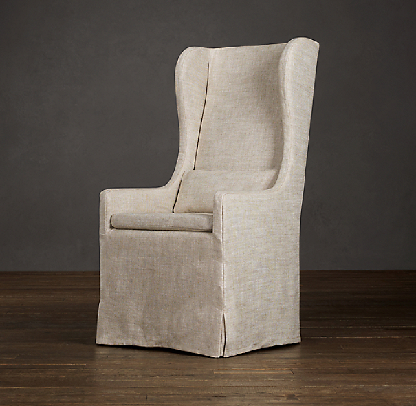 belgian slipcovered wingback dining armchair