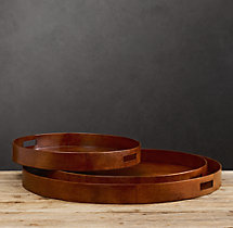 Artisan Leather Trays Round Chestnut
