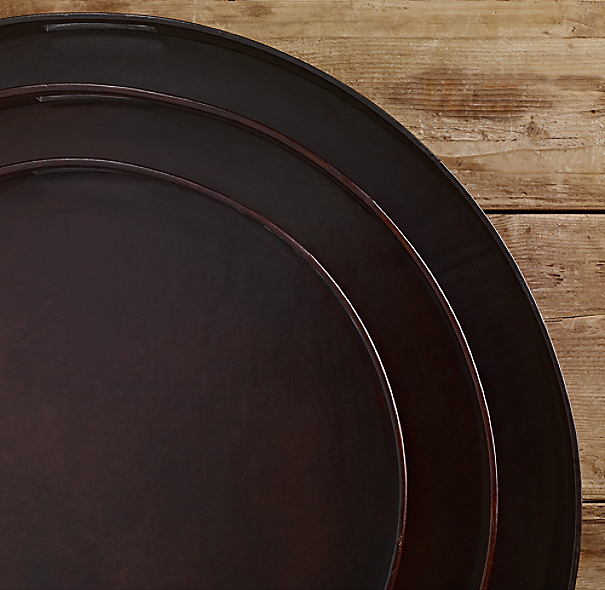 Artisan Leather Trays Round Chocolate
