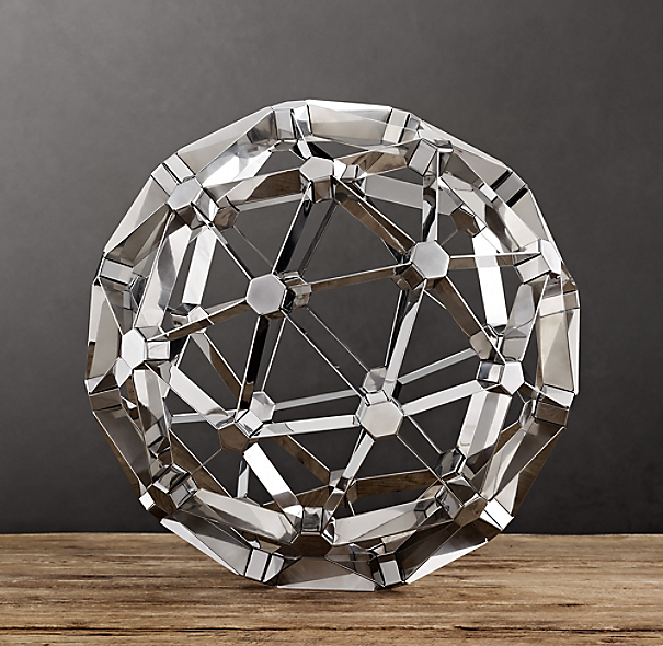 Polyhedron Model Polished Nickel