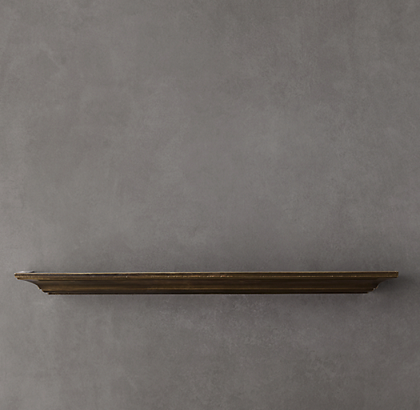 Vintage Brass and Wood Ledge