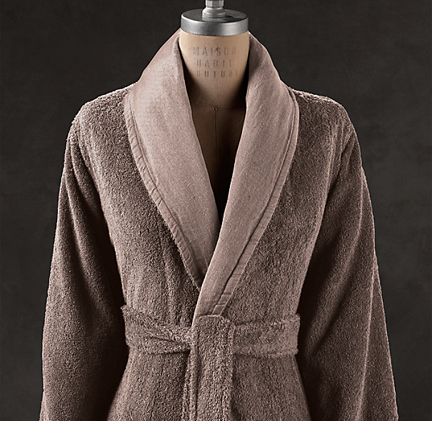 Linen-Bordered Turkish Cotton Robe