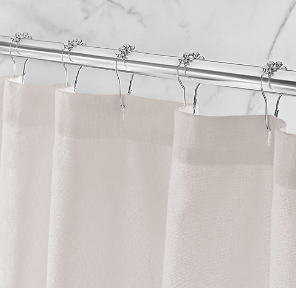 Linen-Bordered Turkish Cotton Shower Curtain