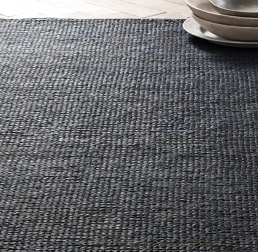 Hand-Braided Jute Rug - Navy