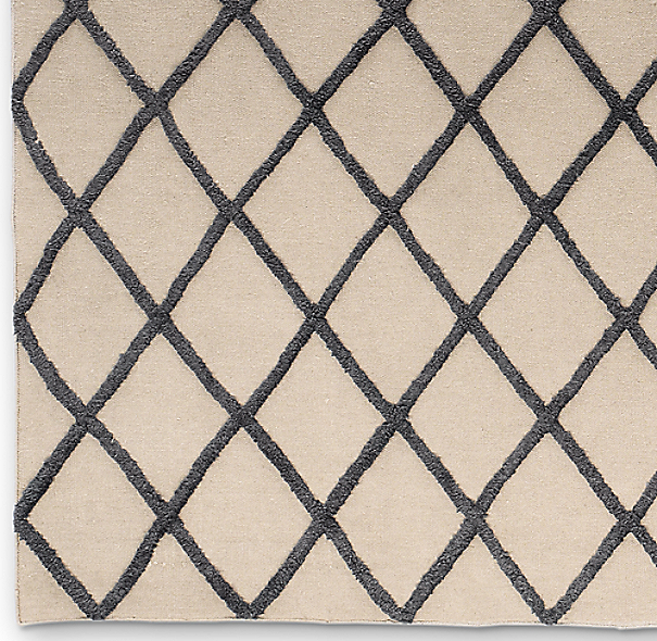Diamante Flatweave Linen Rug Swatch - Natural/Aubergine