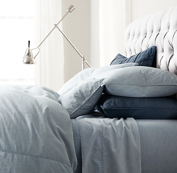 Vintage-Washed Chambray Sheet Set