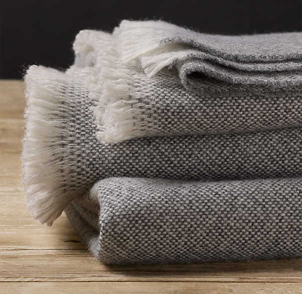Restoration Hardware - Italian Soft-Spun Wool Throw, Fog