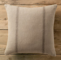 Vintage French Grain-Sack Linen Double Stripe Pillow Cover