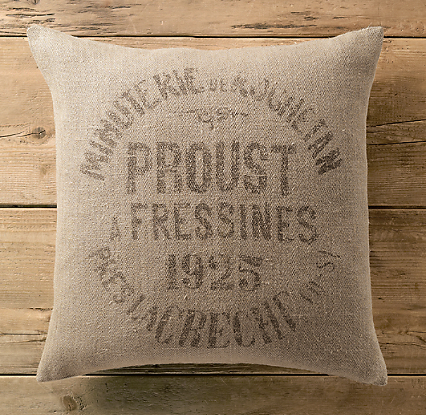 Vintage French Grain-Sack Linen Minuterie Pillow Cover
