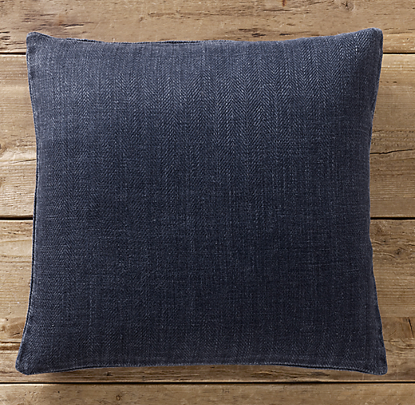 Vintage-Washed Indigo Linen Pillow Cover