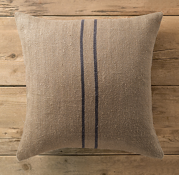 Vintage Stripe Flour-Sack Linen Pillow Cover