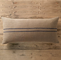 Vintage Stripe Flour-Sack Linen Pillow Cover Wide Lumbar