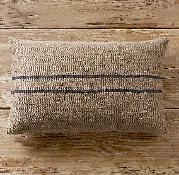 Vintage Stripe Flour-Sack Linen Pillow Cover Lumbar