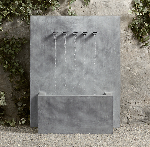 Weathered Zinc Wall Fountain 5-Spout