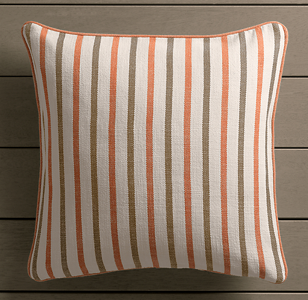 Perennials® Côte d&#39Azur Multi-Stripe Pillow Cover Clementine