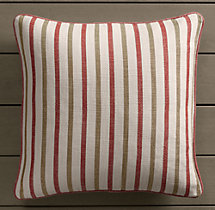Perennials® Côte d&#39Azur Multi-Stripe Pillow Cover Poppy