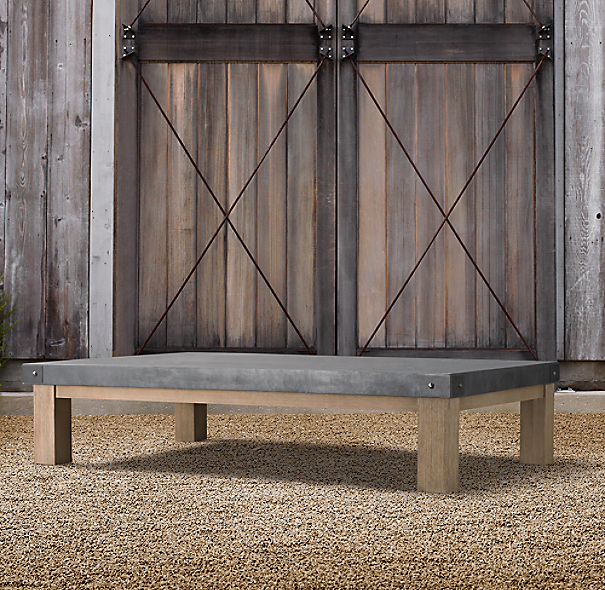 Concrete & Teak Coffee Table
