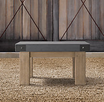 Belgian Trestle Concrete & Teak Side Table