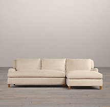 Belgian Classic Roll Arm Upholstered Right-Arm Sofa Chaise Sectional