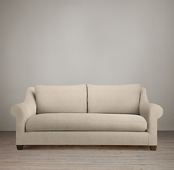 6' Belgian Roll Arm Upholstered Sofa