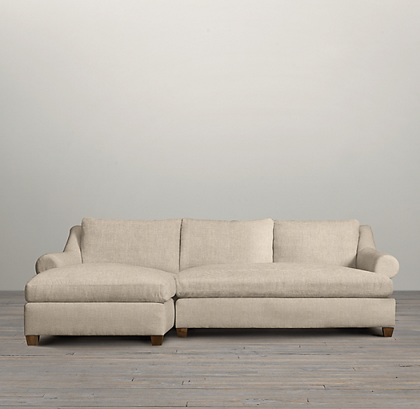 Belgian Roll Arm Upholstered Left-Arm Sofa Chaise Sectional