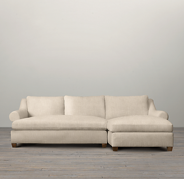 Belgian Roll Arm Upholstered Right-Arm Sofa Chaise Sectional