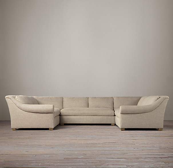 Belgian Roll Arm Upholstered U-Sofa Sectional