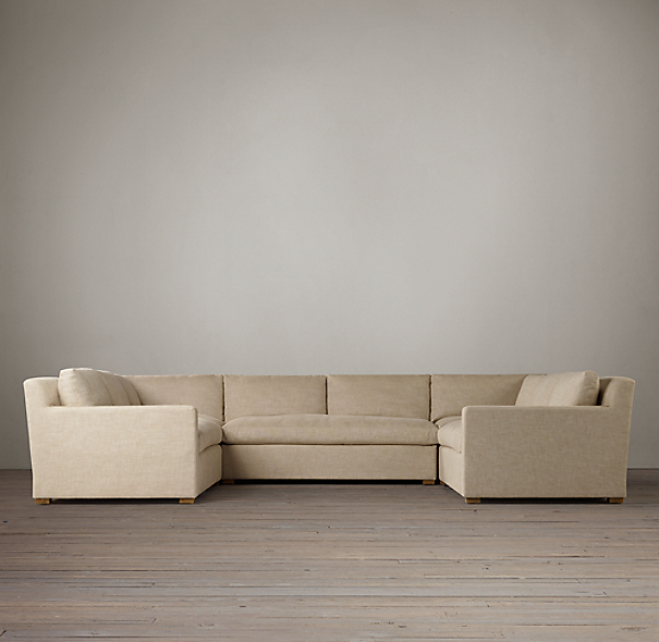 Belgian Track Arm Upholstered U-Sofa Sectional