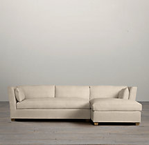 Belgian Shelter Arm Upholstered Right-Arm Sofa Chaise Sectional