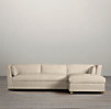 Belgian Shelter Arm Upholstered Sofa Chaise Sectionals