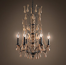 Baroque Wood Crystal Chandelier Medium