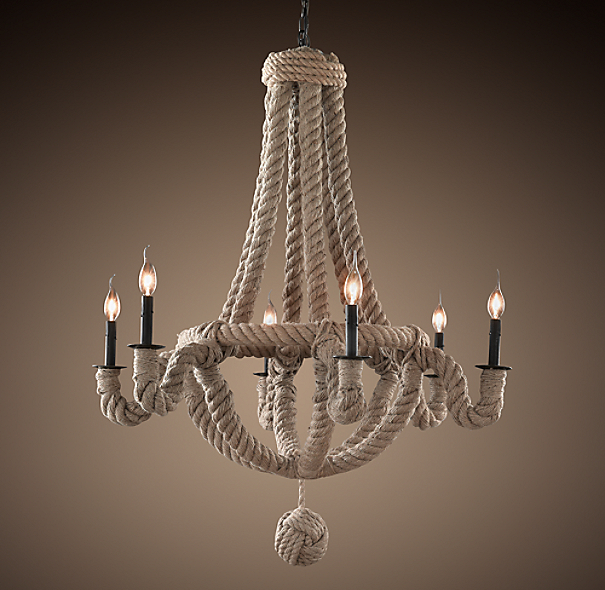 French Empire Rope 6-Arm Chandelier